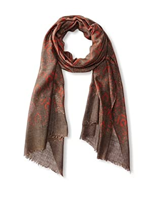 MILA Trends Women's Hand Block Print Wool Scarf, Taupe/Red Multi