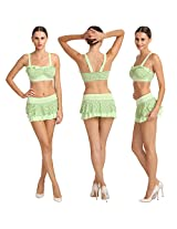 Marvelous Sea Green Polka Dots Soothing Ruffled Skirted Bikini Set.