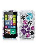 Aimo Wireless Luxury Full Diamond Case for Nokia Lumia 635 /Lumia 630 - Retail Packaging - Colorful Paws