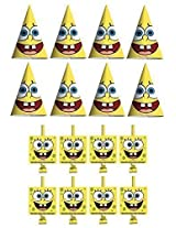 SpongeBob SquarePants Birthday Party Favors Pack Including Blowouts, and Party Cone Hats - 8 Guests
