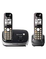 Panasonic KX-TG6512B DECT 6.0 PLUS Expandable Digital Cordless Phone System Black 2 Handsets