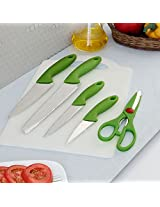 Birde Light Green & Silver Knife With Chopping Board Set of Six Pieces