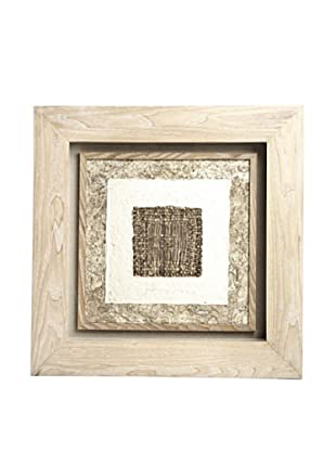 Saro Lifestyle Natural Framed Dark Square Paper Art
