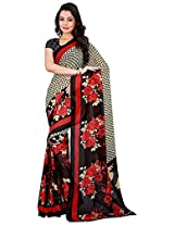 Silk Bazar Women's Faux Georgette Saree with Blouse Piece (Black & Red)