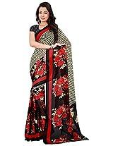 Silk Bazar Women's Faux Georgette Saree with Blouse Piece (Black & Red)