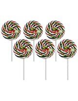 "Kandee Swirl Pop Watermelon Twist 3"" Round (Pack of 6 Natural Colour Candy Lollipop)"