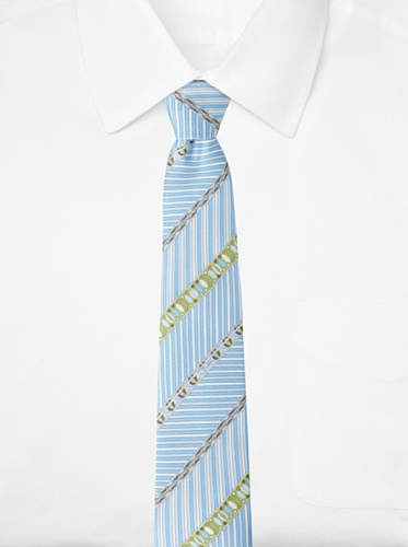 Emilio Pucci Men's Multi-Stripe Tie, Blue/Green