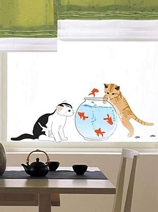 Vinilo Adhesivos gato y pescados Multicolores