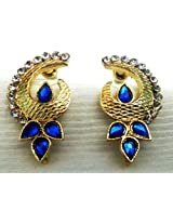Kshitij Jewels Blue & White Metal Dangle & Drop Earrings For Women (KJR 022)