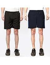 Combo Of 2 Elligator BlackRed & NavyRoyalBlue Cotton Blend Solid Shorts For Men's