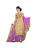 Fabfirki Yellow and Levender Georgette Unstitched Salwar Suit