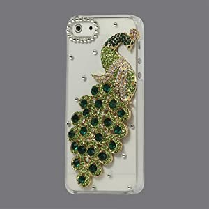 Generic 3D Peacock Bling Diamond Crystal Decorative Case Cover for iPhone 5 5 (Green)