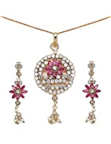 13.70 Grams Red & White Cubic Zircon Gold Plated Pendant Set
