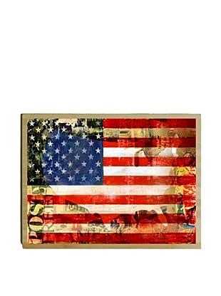 Artehouse US Flag Bamboo Wood Sign