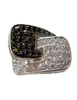 Alkafashionjewels Black and White Cz Stones Overlapping Cluster Big Ring for Women