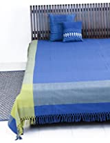 Adhiya Cotton Woven Bed Cover-1.5m x 2.5m-Blue/Green