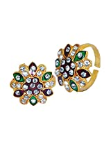 R S Jewels Toe Rings Gold Plated Multi Coloured Stone