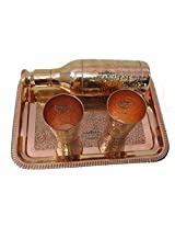 IndianCraftVilla Handmade 100% Pure Copper Traditional Serving Tray 2 Designer Glass with 1 Royal Wine Bottle for use Restaurant Ware Hotel Ware Home Ware Gift Items.