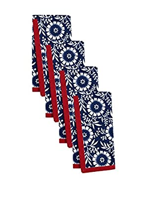 KAF Home Set of 4 Colette Napkins, Navy/White