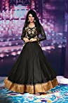 Sixmeter Designer Georgette Black Semi-Stiched Long Anarkali Salwar Kameez Suit