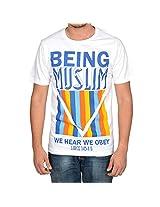 Being Muslim White Cotton T-shirt for Men