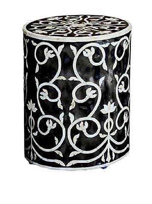 Shine Creations Round Stool, Black/White