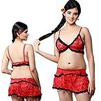 Little India Fancy 3 Pcs Baby Doll Beach Wear Lingerie Set - DLI3NTW502 (Red-Black)