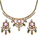 14.10 Grams Multicolorcubic Zircon Gold Plated Pendant Set