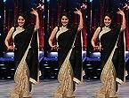 Madhuri Dixit Half Black And Half Crem Replica Saree