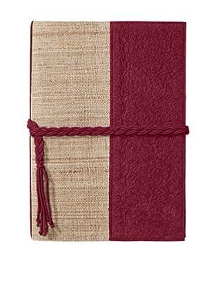 Marina Vaptzarov Medium Vegetal Leather & Nettle Fabric Sketchbook, Fuchsia