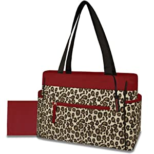 Gerber Diaper Tote Bag, Red Trim Cheetah (Discontinued by Manufacturer)