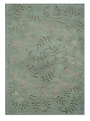 Floral Vine Tufted Modern Rug, Green, 5' x 8'