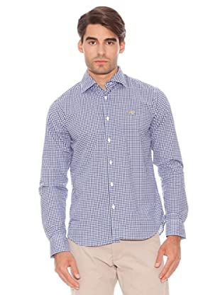 La Martina Camisa Cuadros Manga Larga Puños Abotonados Cuadros (Blanco / Azul)