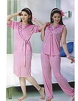 Indiatrendzs Women's Sexy Hot Nighty Pink 3pc Set Bedroom Sleepwear Freesize