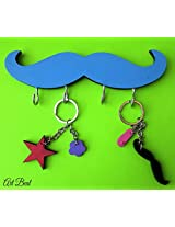 ART BEAT BLUE MUSTACHE KEY HOOK
