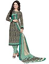 Salwar Studio Green & Black & Cream Cotton Dress Material with Dupatta SHIMAYAA-1222