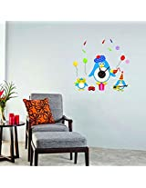 UberLyfe Funny Penguins Wall Clock cum Wall Sticker for Home Décor