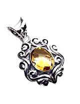 Admyro Citrine Gemstone 925 Silver Light Weight Pendant-traditional jaipur pendant-AZP 678
