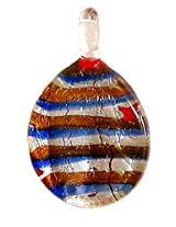 DollsofIndia Striped Oval Pendant - Glass - Blue