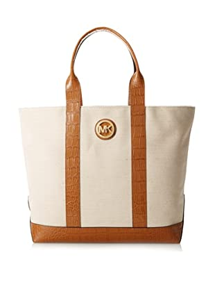 MICHAEL Michael Kors Women's Fulton Canvas Large Tote, Ecru/Luggage