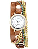 La Mer Collections Women's LMDELCRY1502 Mocha Berlin Crystal Analog Display Quartz Brown Watch