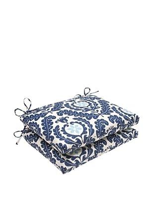 Waverly Sun-n-Shade Set of 2 Meridian Pool Seat Cushions (Navy/Aqua/Cream)