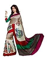 Brijraj Jennifer Winget, White Dust Multi Bhagalpuri silk Beautifull Printed Saree Wih Unstitch Blouse