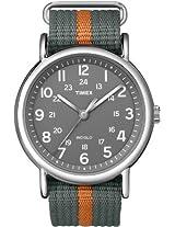 Timex Men's T2N649KW Weekender Gray and Orange Slip Through Strap Watch