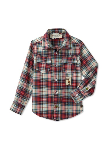 hitch-hiker Boy's Plaid Button-Up Shirt (Rosso)