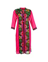 Karni Women's Georgette Pink & Green Kurti