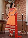 Rukulpreet Singh Faux Georgette Orange Anarkali Suit