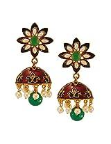 Habors Gold Plated Green Zubaida Meenakari Jhumki Earring for Womens