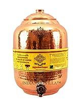 "Indian Art Villa 13.4"" X 5.5"" Handmade 100% Pure Copper Volume 10 ltr. Water Pot Storage Water Tank With Tap Kitchen Home Garden Yoga Ayurveda for Health Benefits"