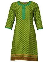 Bunkaari India Women's Cotton Regular Fit Kurti (00LK 38_46, Green, 46)